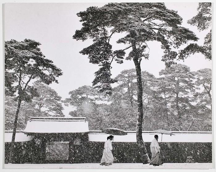 [Shinto priests in courtyard of Meiji Shrine, Tokyo]
