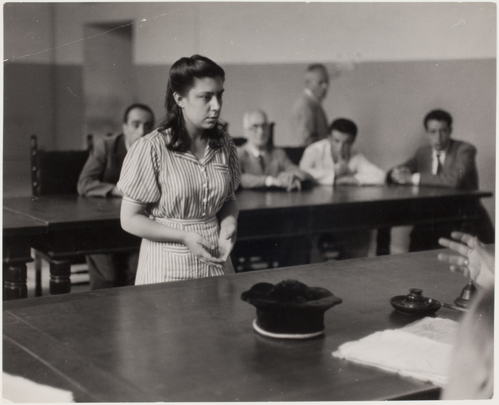 [Girl in front of the tribunal of the Juvenile Court, Albergo dei Poveri reformatory, Naples]