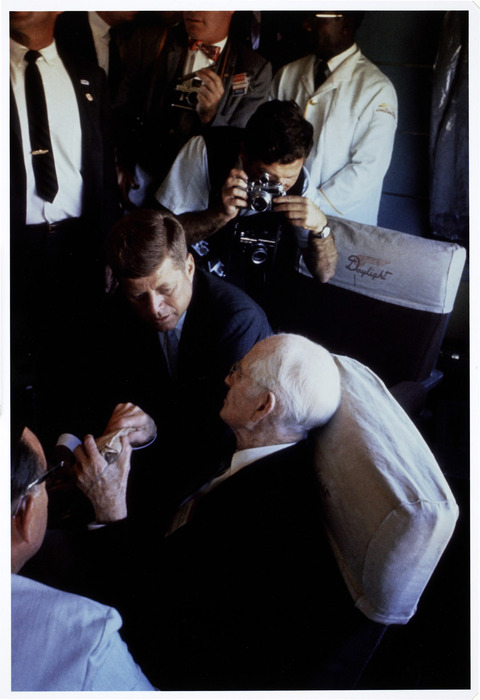 [John F. Kennedy on his campaign train, California]