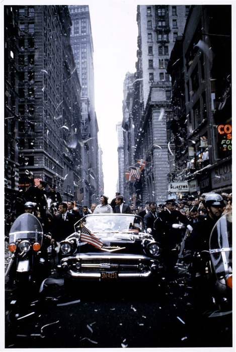 [John F. Kennedy and his wife, Jackie, campaigning in New York]