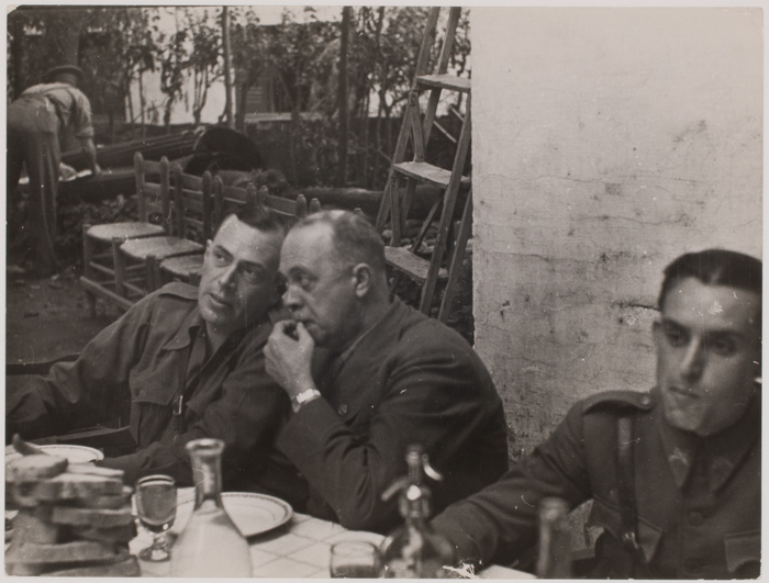 [Andre Marty and Hans Kahle talking at a farewell ceremony for the International Brigades, near Falset, Spain]