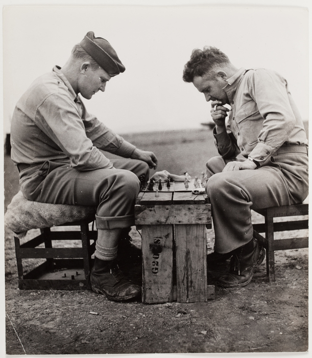 [American soldiers playing chess, United States Army Airfield, North Africa]