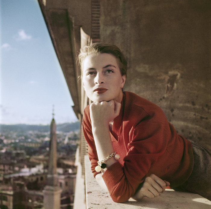[Capucine, French model and actress, on a balcony, Rome]
