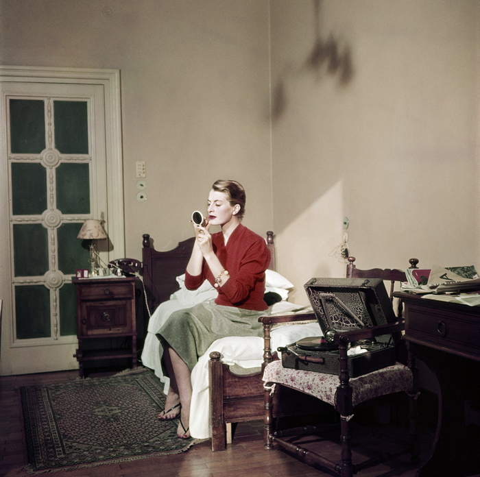 [Capucine, French model and actress, in her hotel room, Rome]