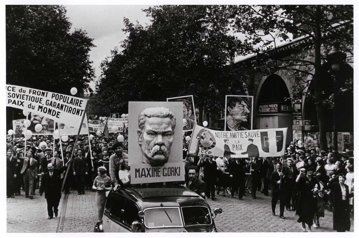 [Bastille Day parade float featuring the Soviet writer Maxim Gorky, who was revered by the international Communist movement and had died a few weeks earlier, Paris]