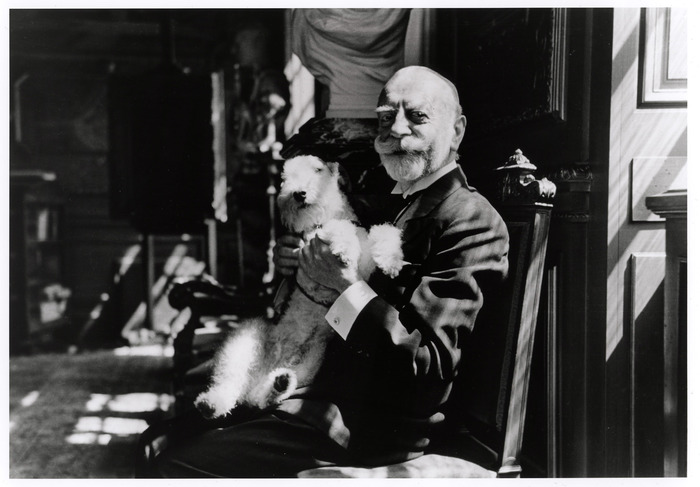[Adolphe Max, burgomater (mayor) of the city for thirty years, with his dog Happy, Brussels]