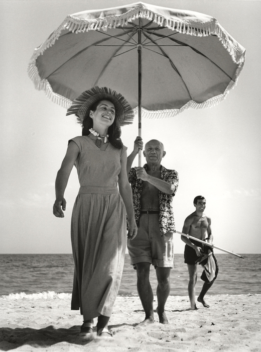 [Pablo Picasso with Françoise Gilot and his nephew Javier Vilato, on the beach, Golfe-Juan, France]