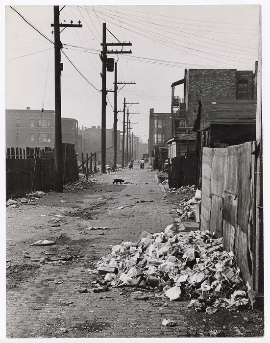 [Garbage strewn alley in the slums of Chicago]