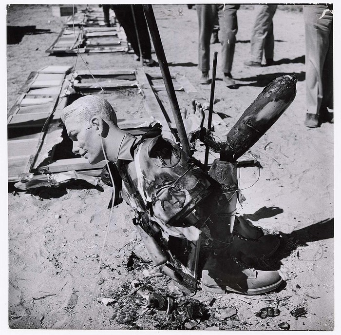 [Burned up except for face, this mannequin, was 7,000 feet from atomic bomb blast, Yucca Flat, Nevada]