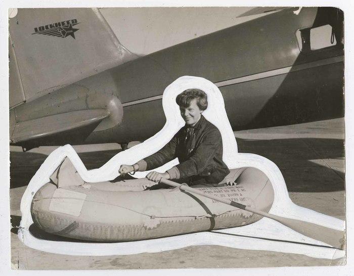 [Amelia Earhart in rubber lifeboat, Hawaii]