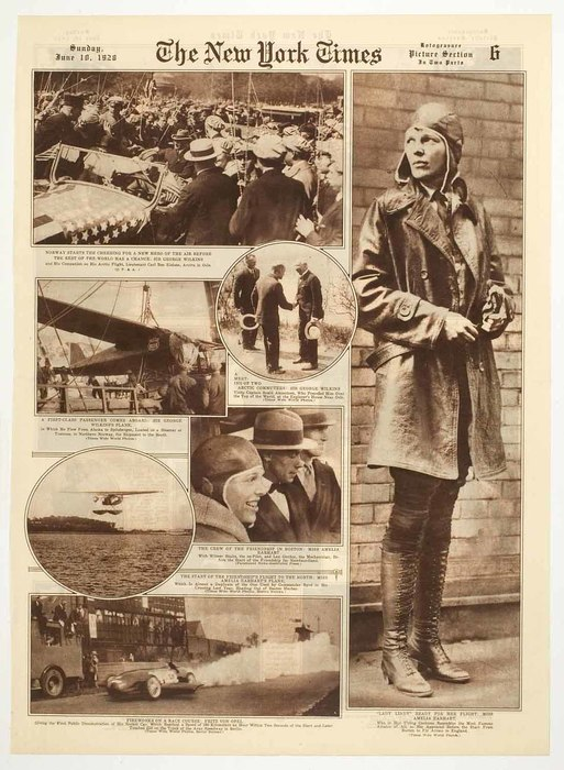 [Photo story illustrating the latest headlines in aviation and the news about Amelia Earhart's transatlantic flight]