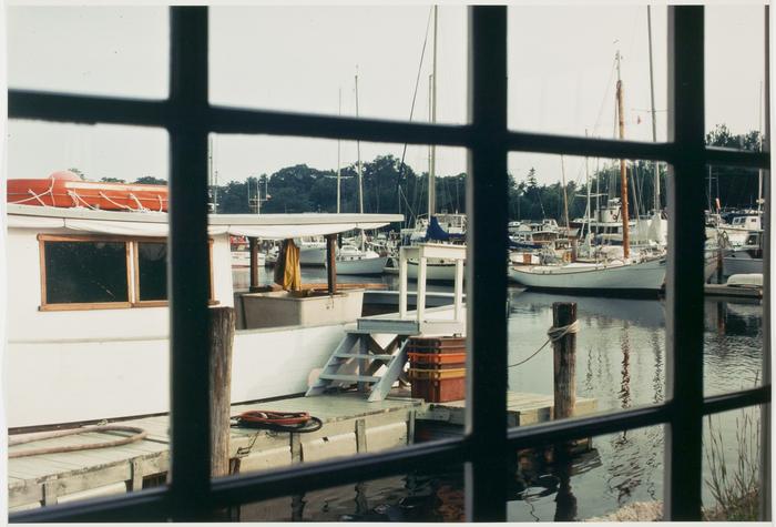 View of boatyard through windowpanes