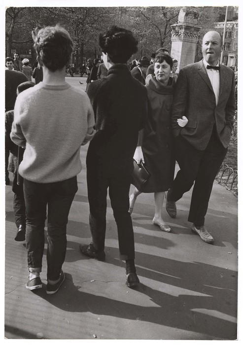 [Straight couple staring at two gay men, Washington Square Park, New York]