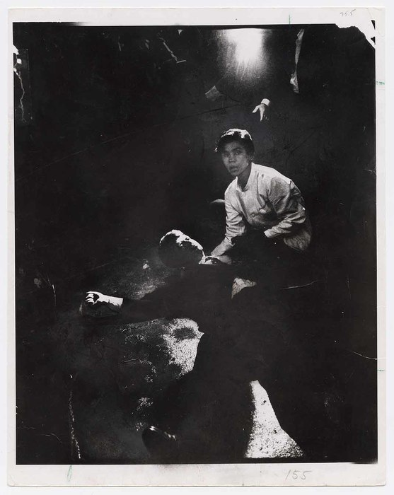 [Juan Romero, busboy at Ambassador Hotel, kneeling to help fallen Robert F. Kennedy after he was shot by Sirhan B. Sirhan, Los Angeles]