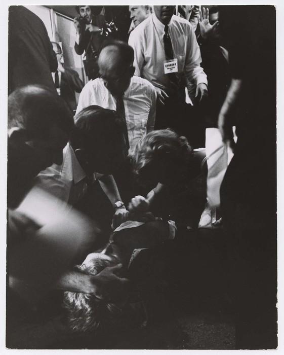 [Ethel Kennedy (C.R.) et al coming to aid of Sen. Robert F. Kennedy lying on floor, Ambassador Hotel, shot by Sirhan Sirhan. The Senator died later.]