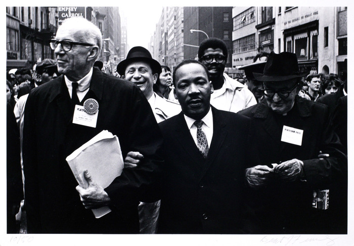 Dr. Benjamin Spock, Dr. Martin Luther King Jr., and Monsignor Rice of Pittsburgh march in the Solidarity Day Parade at the United Nations Building