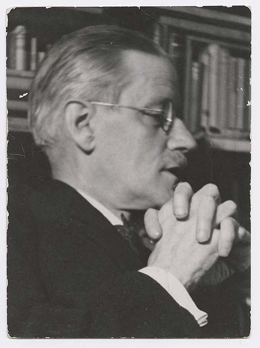 [Portrait of Irish author James Joyce.  Profile, hands clasped]