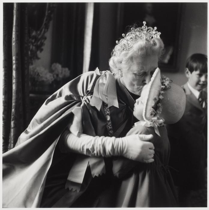 [Lady Churchill kissing granddaughter Emma on Queen Elizabeth II's coronation day]