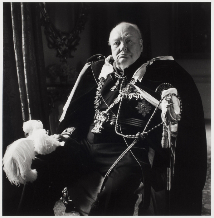 [Winston Churchill in his Knight of the Garter robes on Queen Elizabeth II's Coronation Day, 10 Downing Street, London]
