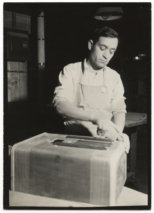 [Hand sander working on cabinets, RCA Victor, Camden, New Jersey]