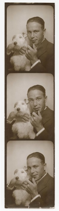 [Self-portrait of Anatol Josepho with terrier]