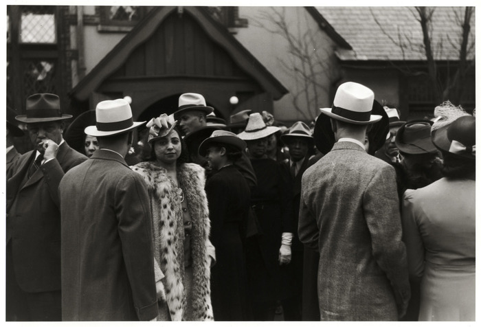 Crowd outside of a fashionable Negro church after Easter Sunday service