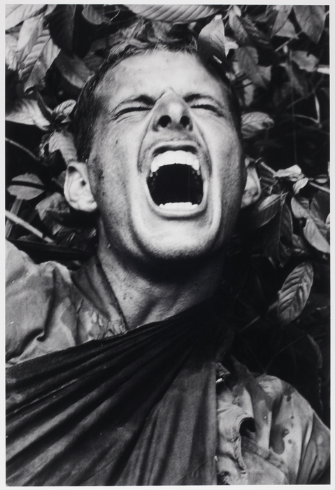 A marine screams in pain, Operation Prairie, near the DMZ