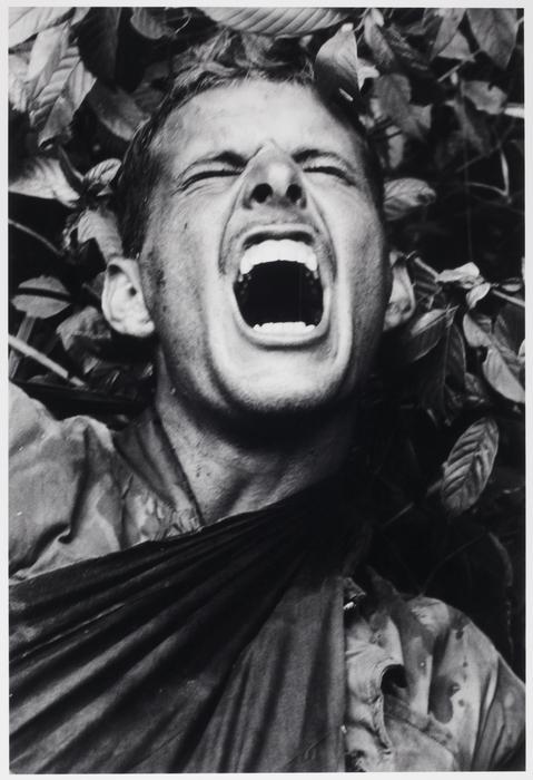A marine screams in pain, Operation Prairie, near the DMZ