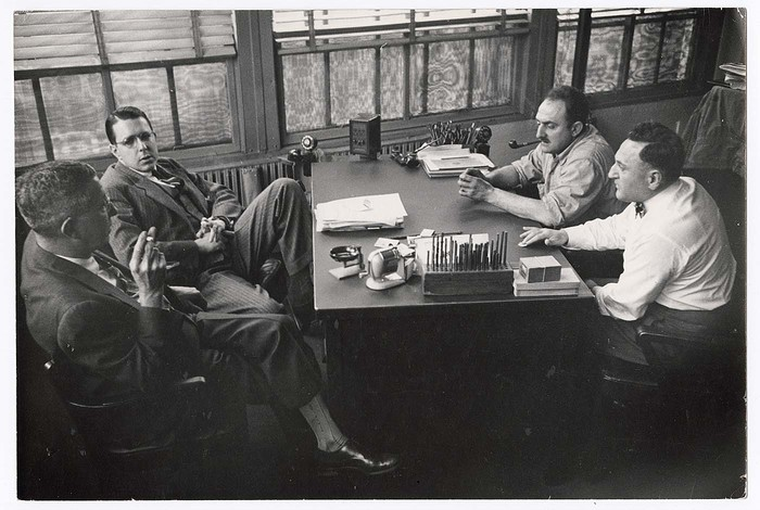 [Two management and two union representatives meeting to discuss working conditions at the American Lead Pencil Company, Bayonne, New Jersey]