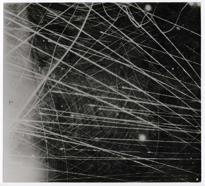 [Light streaks from bombing pattern over Brest, Fance]