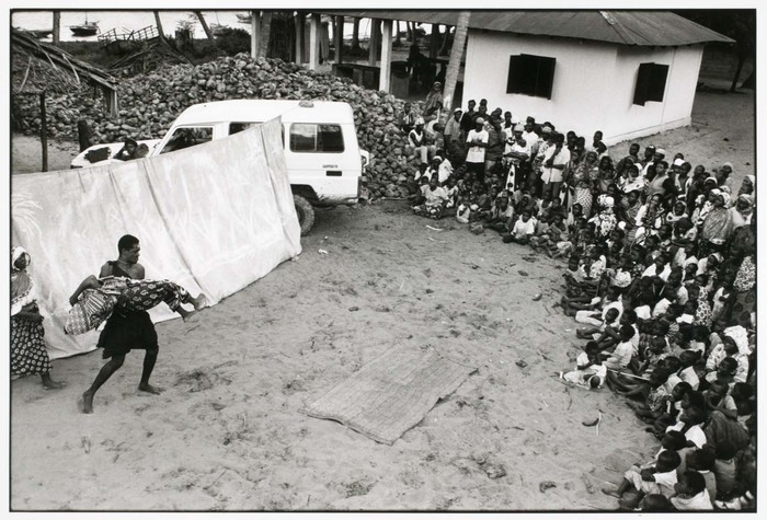 Angeningo Theatre Group perform an interactive drama about HIV and AIDS in a fishing village near Pangani