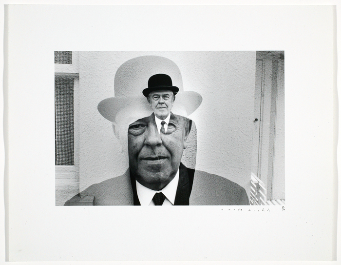 Rene Magritte in bowler hat, mutiple exposure