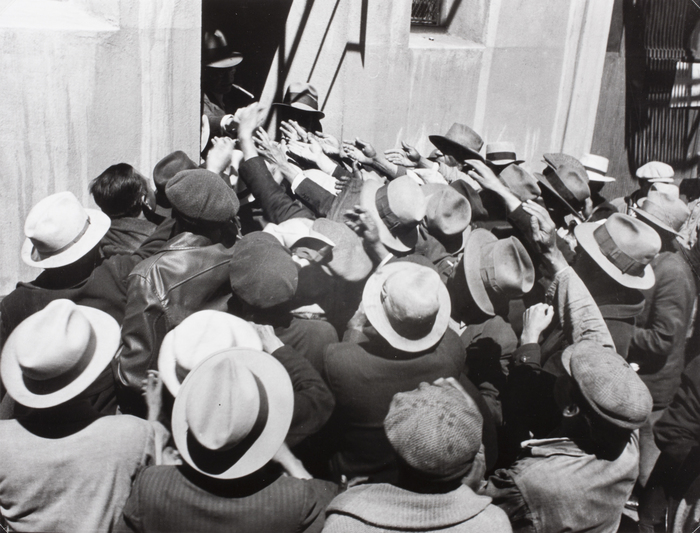 Men begging for jobs, San Francisco waterfront