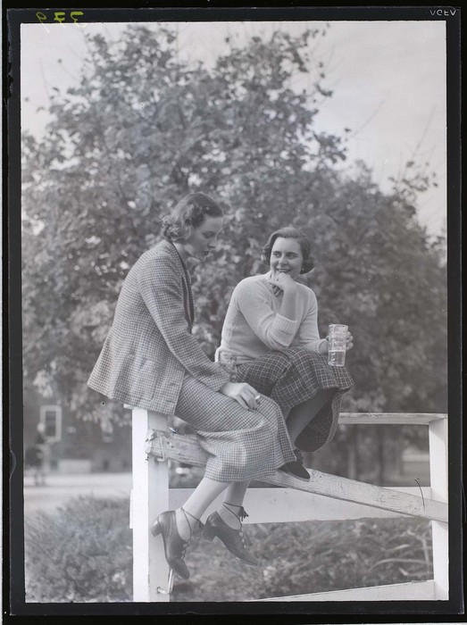 [Two women sitting on fence drinking and smoking]