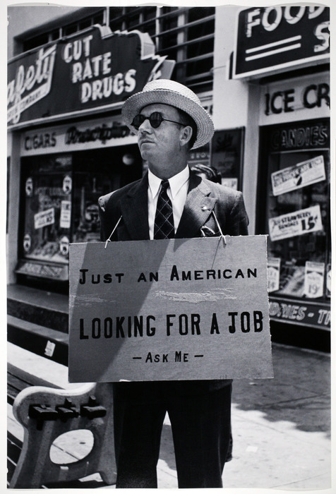 Unemployed Maurice J. Shannon, 54 year old Construction Engineer on Sunset Boulevard, Hollywood, July 1939