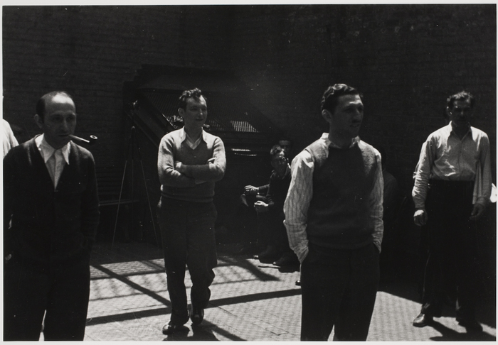 Prisoners watching baseball game, courtyard of New York County Jail