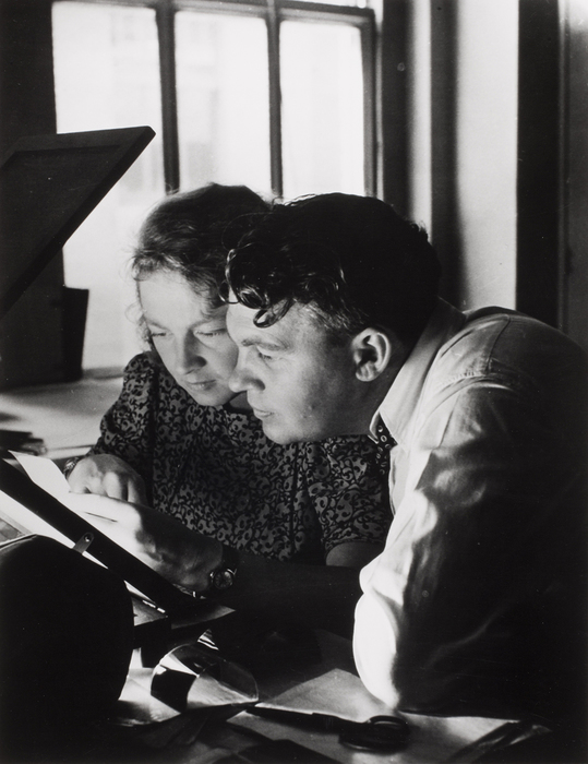 Hansel and Otto selecting negatives at LIFE Magazine Lab with Peter Stackpole