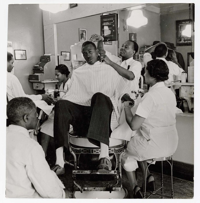 Satch getting works in Harlem barber shop - shave - haircut - shine - manicure - before game.