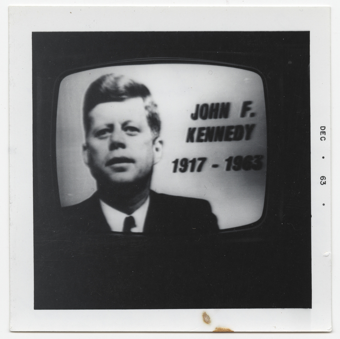 [Television image of memorial of John F. Kennedy]
