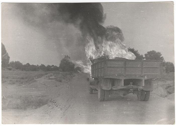 [Burning truck, Battle of Brunete, Spain]