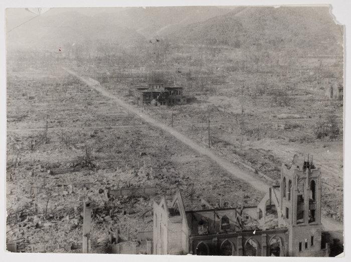 Hiroshima, directly after the fog cleared. Catholic Church in foreground.