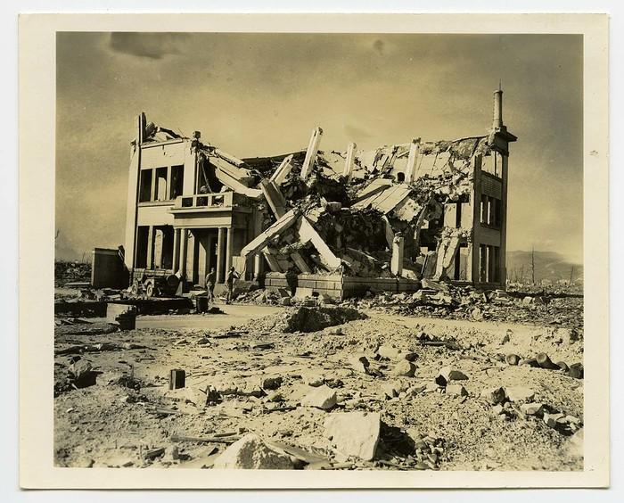 [Blast-damaged ruins of Chugoku Coal Distribution Company or Hiroshima Gas Company]