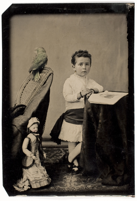 [Unidentified Girl with Parrot and Doll]