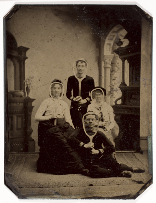 [Two Unidentified Women and Two Men with Tennis Rackets]