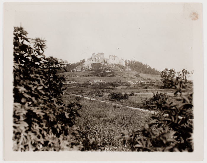 Coucy-le-Château, one of the show places of France. Occupied by the Huns throughout the duration of the war, and when forced to retreat in Oct. 1918, they destroyed this famous ruin by exploding mines in the foundations