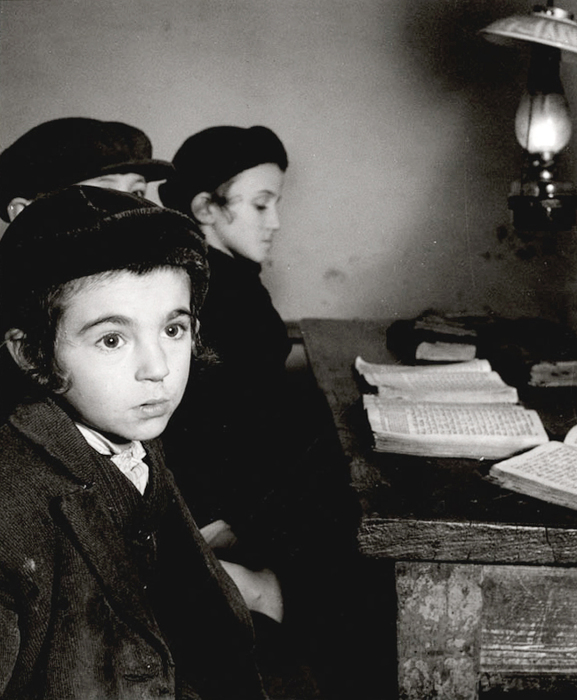 [David Eckstein, seven years old, and classmates in cheder (Jewish elementary school), Brod, Czechoslovakia]