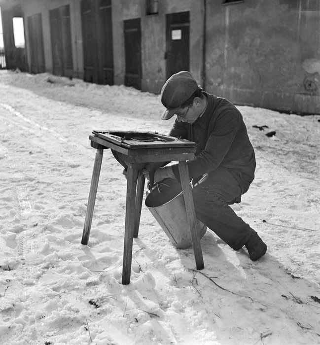 [Boy learning to milk cows by using a model of a cow's udders, Niederschönhausen, an occupational training camp for German Jews hoping to emigrate, Pankow, Berlin]