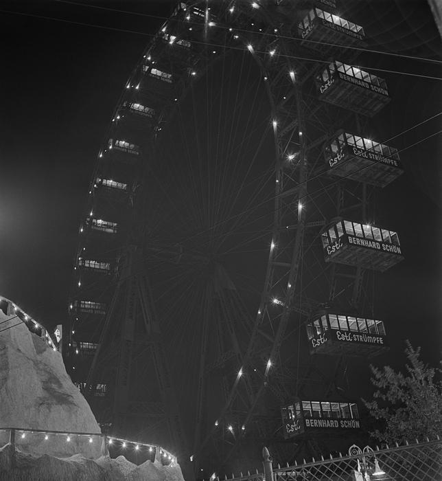 [Historic Prater Riesenrad at night, Prater Amusement Park, Leopoldstadt, Vienna]