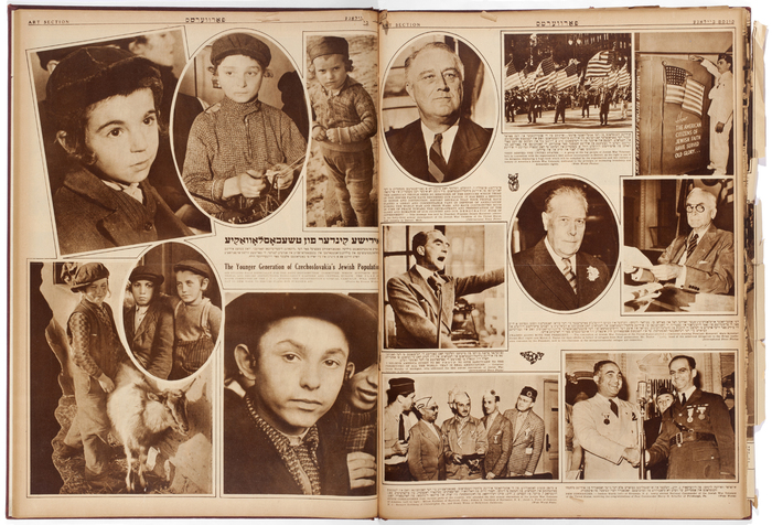 """[""""The Younger Generation of Czechoslovakia's Jewish Population,"""" The Forward, Sunday Art Section featuring six photographs by Roman Vishniac taken in Czechoslovakia]"""