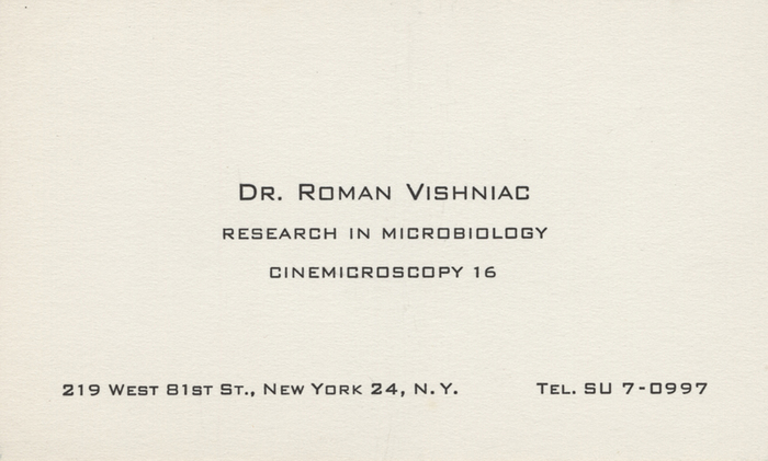 Dr. Roman Vishniac, Research in Microbiology, Cinemicroscopy 16